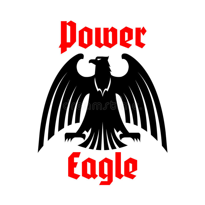 Ícone de Eagle, símbolo heráldico imperial do vetor do pássaro ilustração stock