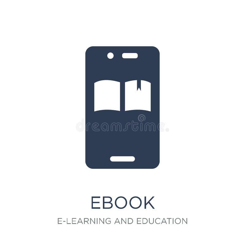 Ícone de Ebook Ícone liso na moda de Ebook do vetor no fundo branco franco ilustração royalty free