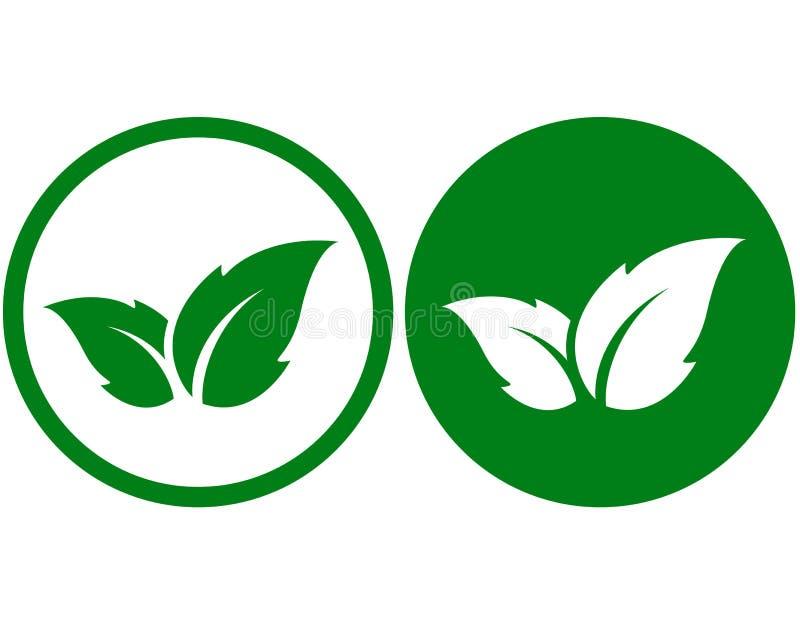 Ícone de Eco com folha ilustração stock