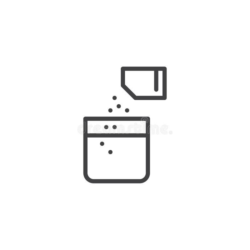 Ícone de empacotamento do esboço do pó médico ilustração stock