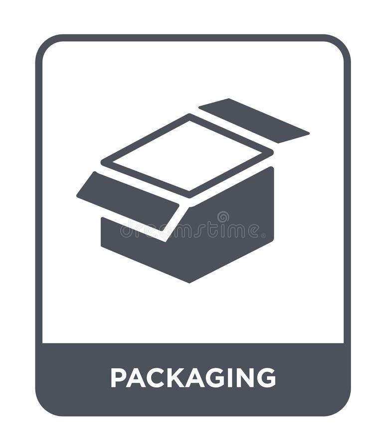 ícone de empacotamento no estilo na moda do projeto Ícone de empacotamento isolado no fundo branco plano simples e moderno do íco ilustração stock