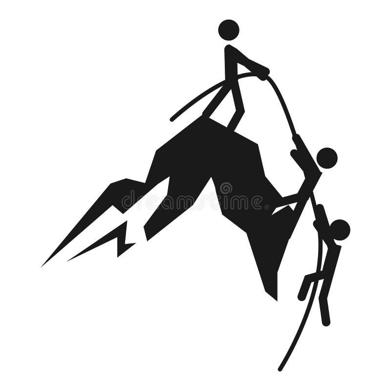 Ícone de escalada da montanha da ajuda do homem, estilo simples ilustração stock