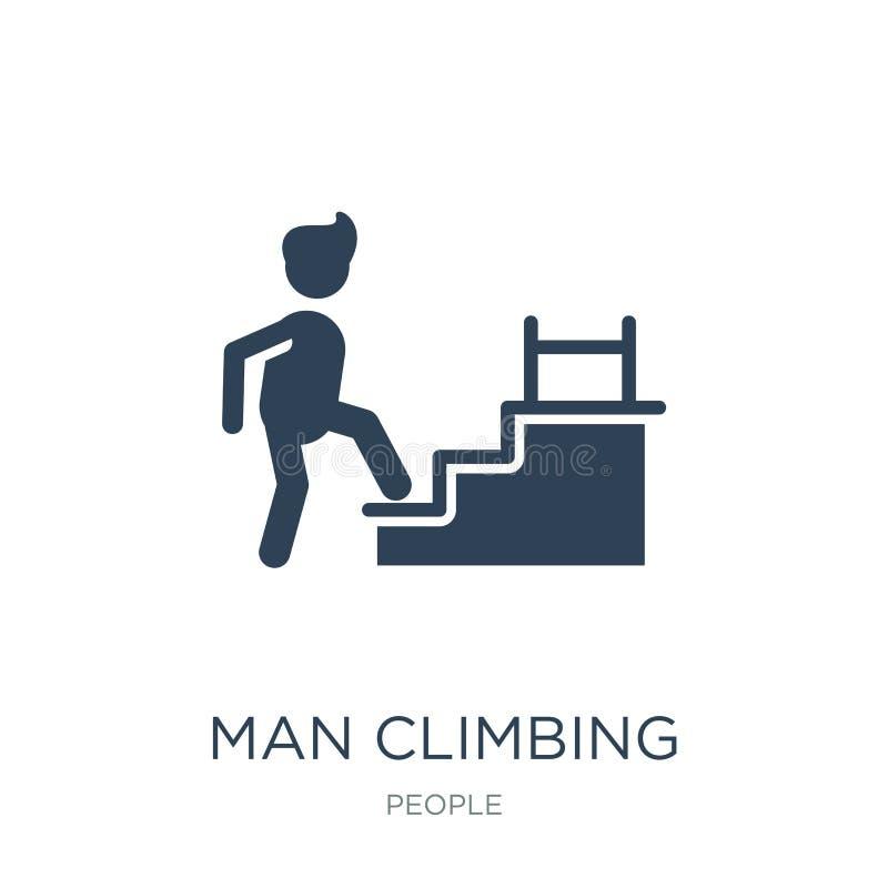 ícone de escalada das escadas do homem no estilo na moda do projeto ícone de escalada das escadas do homem isolado no fundo branc ilustração do vetor