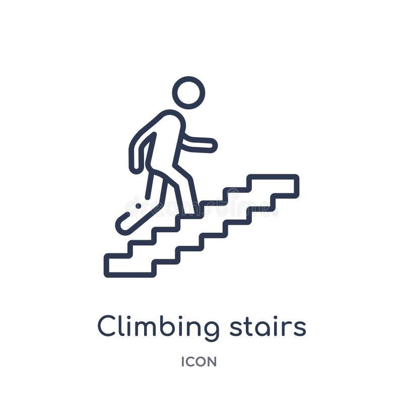 Ícone de escalada linear das escadas da coleção do esboço do comportamento Linha fina vetor de escalada das escadas isolado no fu ilustração stock