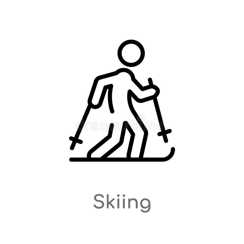 ícone de esqui do vetor do esboço linha simples preta isolada ilustração do elemento da atividade e do conceito dos passatempos V ilustração stock