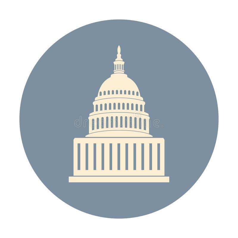 Ícone de Estados Unidos Capitol Hill que constrói a C.C. de Washington ilustração do vetor