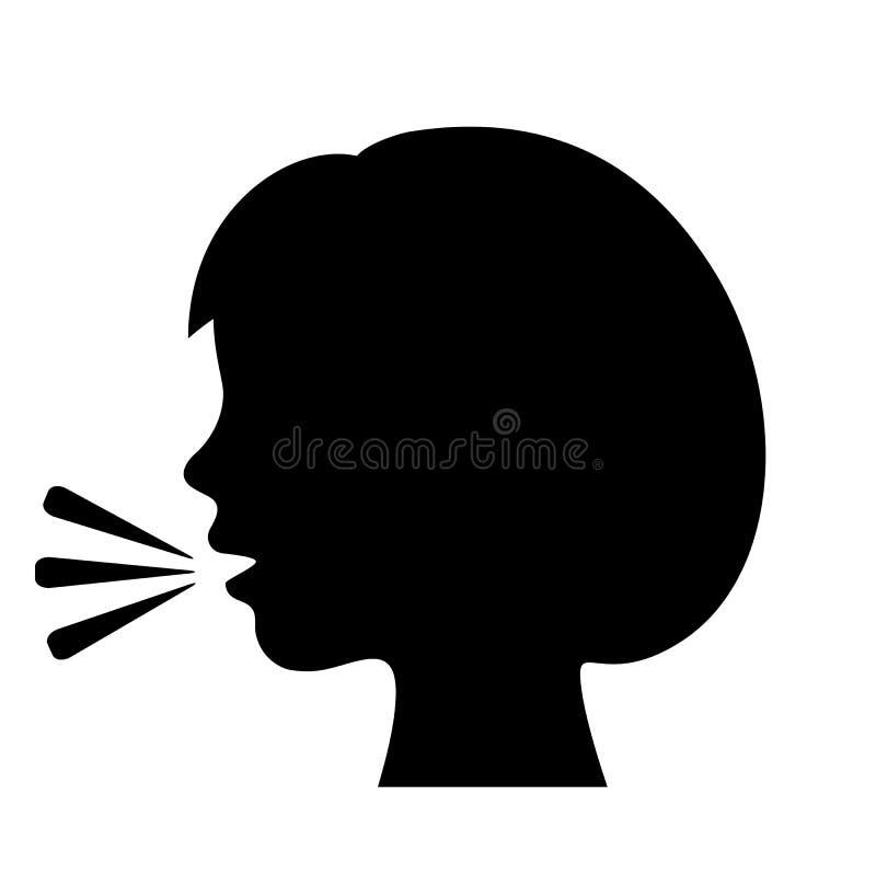 Ícone de fala do vetor da menina ilustração stock