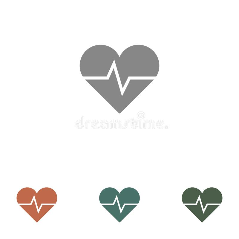 Ícone de frequência cardíaca isolado em fundo branco ilustração stock