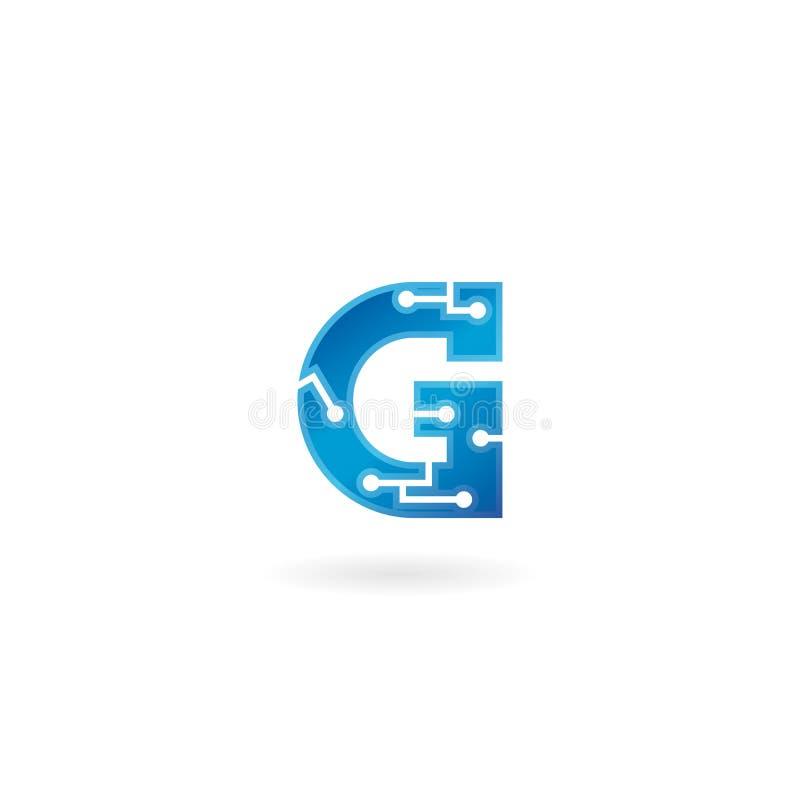 Ícone de G da letra O logotipo esperto, o computador e os dados da tecnologia relacionaram o negócio, a olá!-tecnologia e o inova ilustração stock