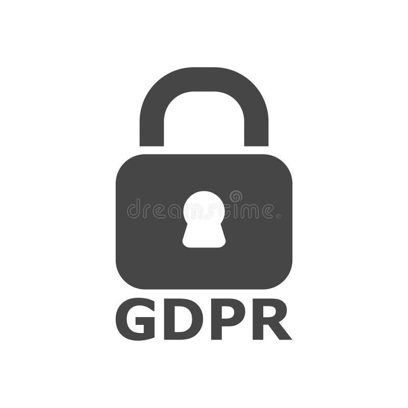 Ícone de GDPR, regulamento geral da proteção de dados ilustração stock