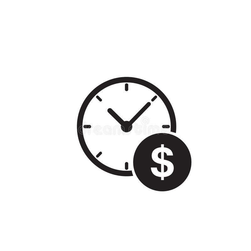 Ícone de gerenciamento empresarial e financeiro em estilo plano Tempo é vetor de dinheiro em fundo branco Estratégia financeira ilustração royalty free