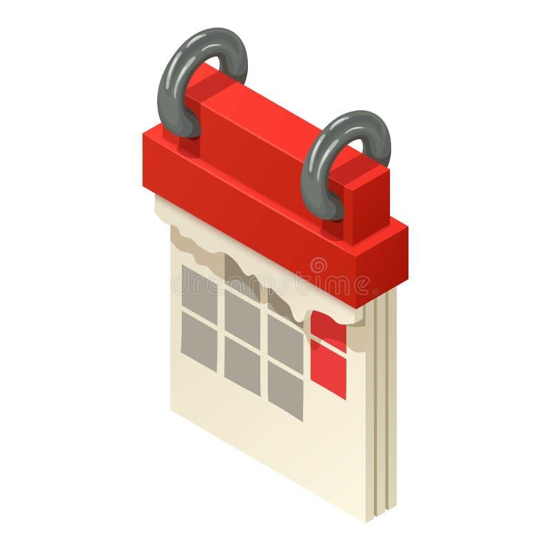 Ícone de giro do calendário, estilo isométrico ilustração royalty free