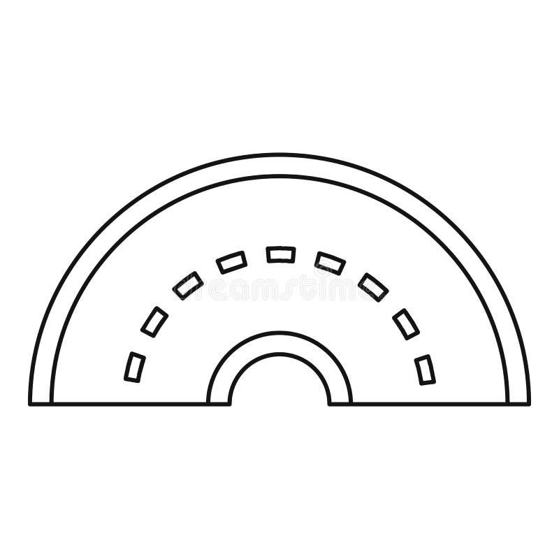 Ícone de giro redondo da estrada, estilo do esboço ilustração stock