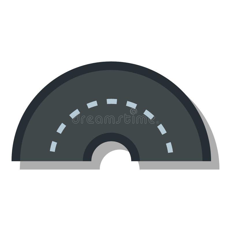 Ícone de giro redondo da estrada, estilo liso ilustração do vetor