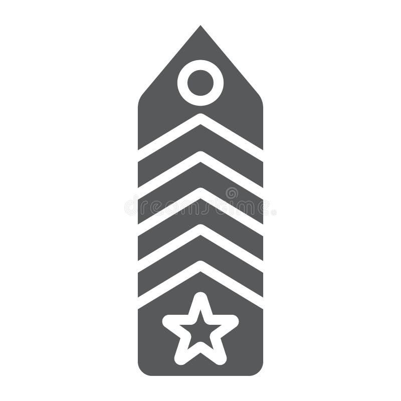 Ícone de glifo de gérron militar, uniforme e insígnia, sinal de emblema do exército, gráficos vetoriais, um padrão sólido em bran ilustração stock