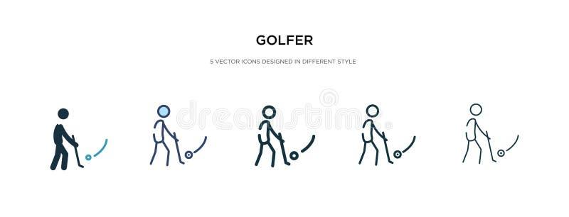 Ícone de Golfer em ilustração de vetor de estilo diferente dois ícones coloridos e do vetor de golfe preto concebidos em forma de ilustração royalty free