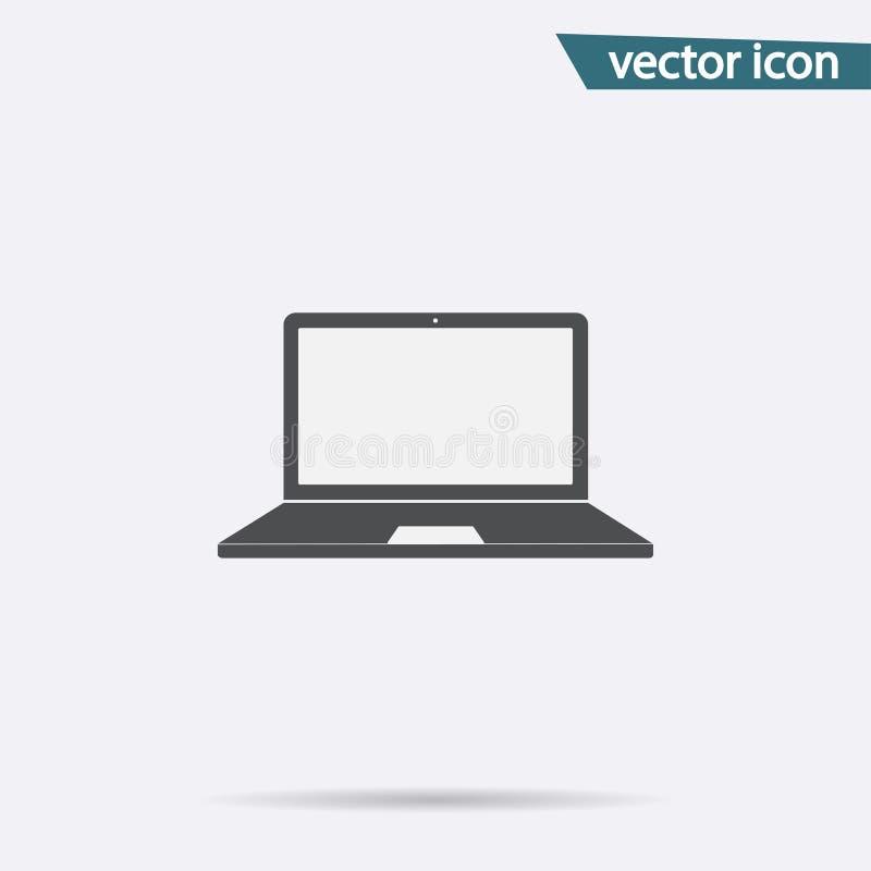 Ícone de Gray Laptop isolado no fundo Pictograma liso moderno, negócio, mercado, concep do Internet ilustração stock