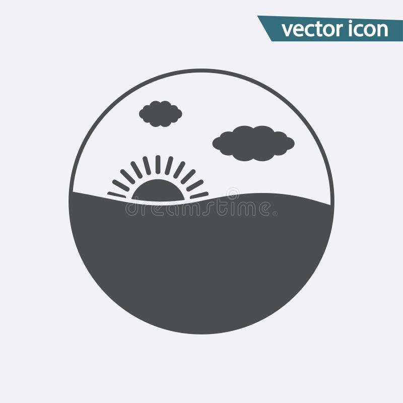 Ícone de Gray Sunset isolado no fundo Pictograma liso moderno, negócio, mercado, concep do Internet ilustração do vetor