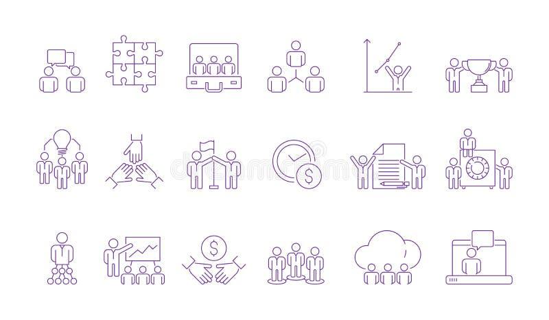 Ícone de grupo da equipe de Coworking Executivos de trabalho coordenados de construção de equipe diretiva que ajuda junto o esboç ilustração stock