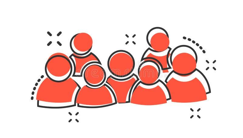 Ícone de grupo de pessoas dos desenhos animados do vetor no estilo cômico Sinal das pessoas ilustração stock