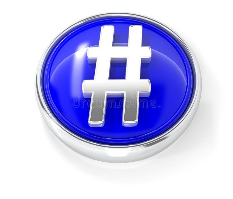 Ícone de Hashtag no botão redondo azul lustroso ilustração royalty free