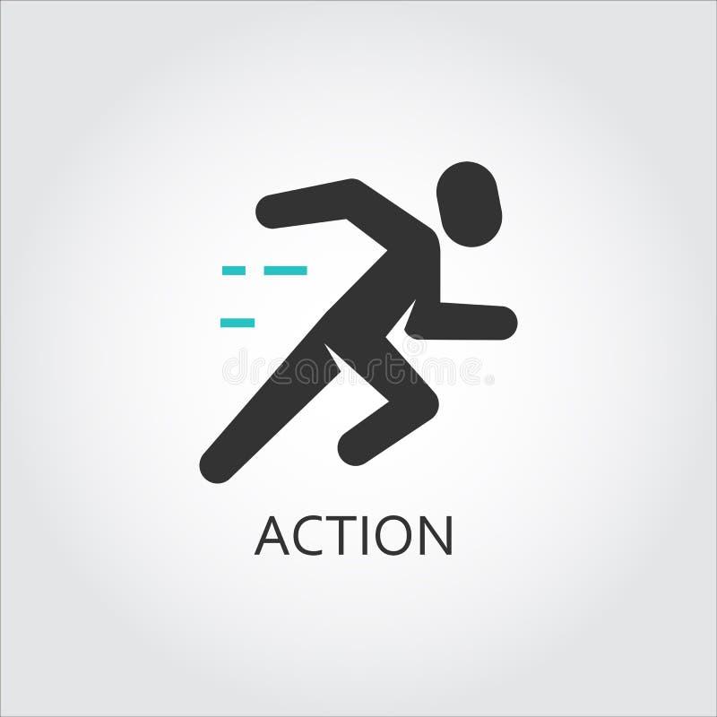 Ícone de homens running, ação, esporte, conceito do movimento ilustração do vetor