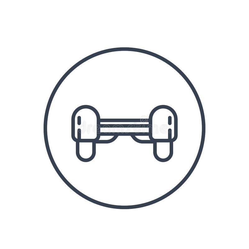 Ícone de Hoverboard, pictograma linear no branco ilustração do vetor