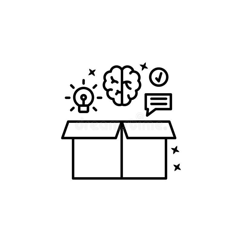 Ícone de ideia do cérebro de bate-papo Linha simples, vetor de destaque de ícones de gerenciamento de projetos para ui e ux, site ilustração stock