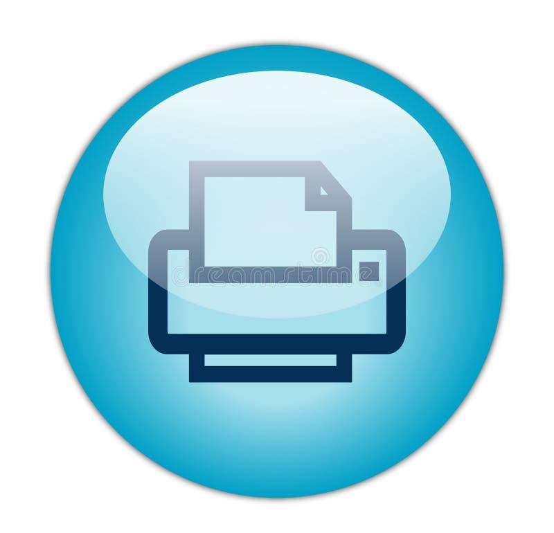 Ícone de impressora azul Glassy ilustração royalty free
