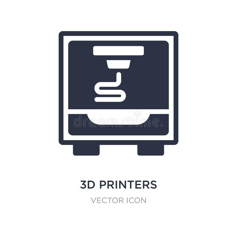 ícone de impressoras 3d no fundo branco Ilustração simples do elemento do conceito da tecnologia ilustração do vetor