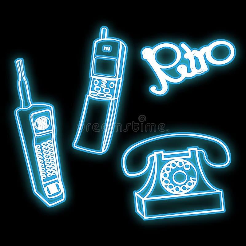Ícone de incandescência brilhante de néon do sumário bonito, um sinal de um grupo dos telefones celulares retros velhos dos anos  ilustração do vetor