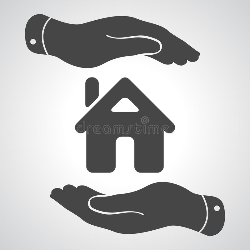 Ícone de inquietação das mãos - casa de proteção ilustração royalty free