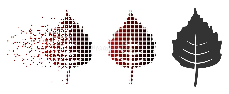 Ícone de intervalo mínimo da folha do vidoeiro do pixel da poeira ilustração royalty free