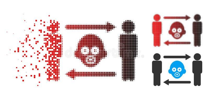 Ícone de intervalo mínimo dissolvido da troca do bebê das pessoas de Pixelated ilustração do vetor
