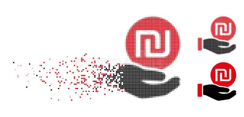 Ícone de intervalo mínimo dissolvido do pagamento da moeda do shekel do pixel ilustração do vetor