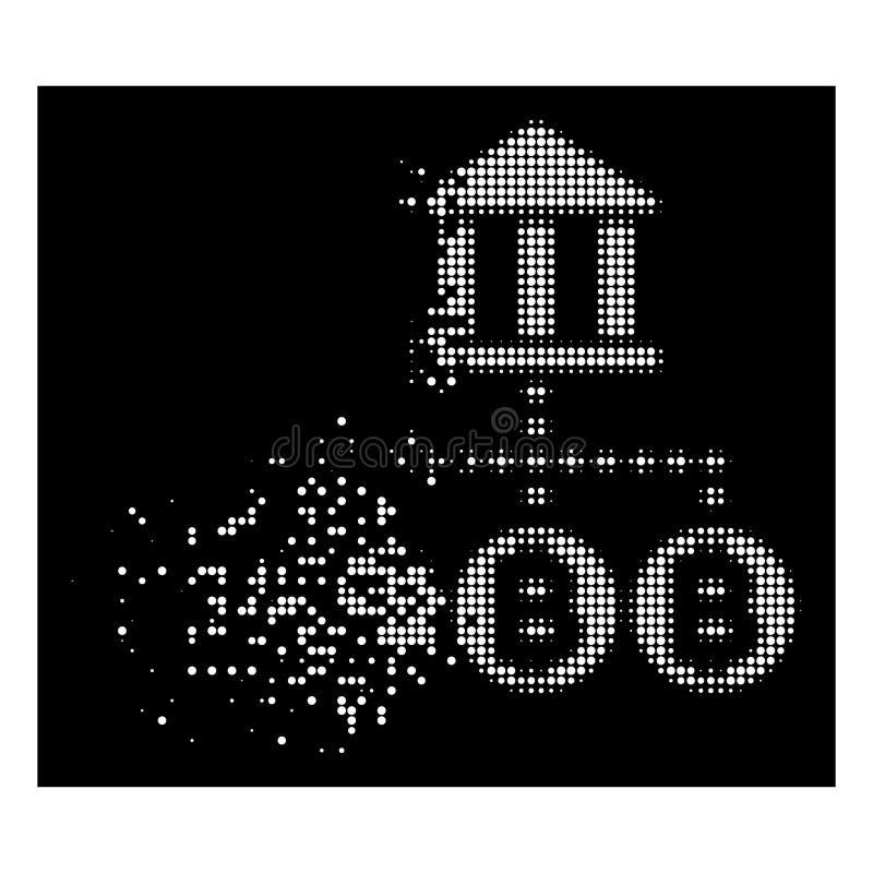 Ícone de intervalo mínimo pontilhado dissolvido brilhante da estrutura do banco de Bitcoin ilustração royalty free