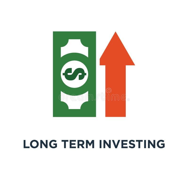 ícone de investimento a longo prazo da estratégia crescimento da renda, relatório financeiro da melhoria, mais dinheiro, símbolo  ilustração do vetor
