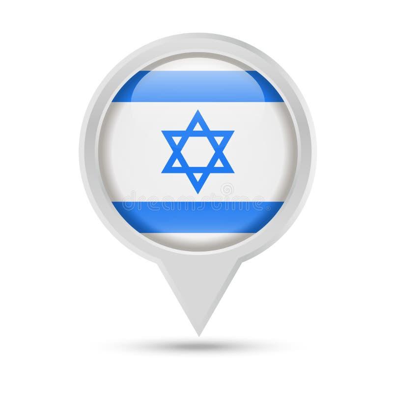 Ícone de Israel Flag Round Pin Vetora ilustração stock