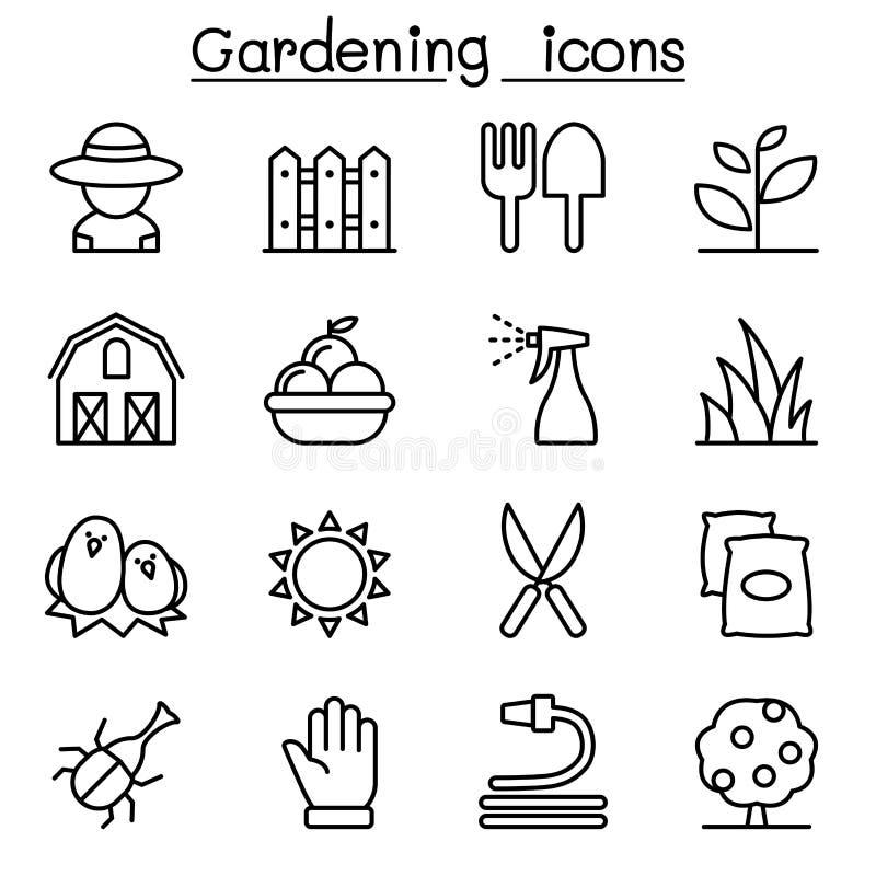 Ícone de jardinagem ajustado na linha estilo fina ilustração royalty free