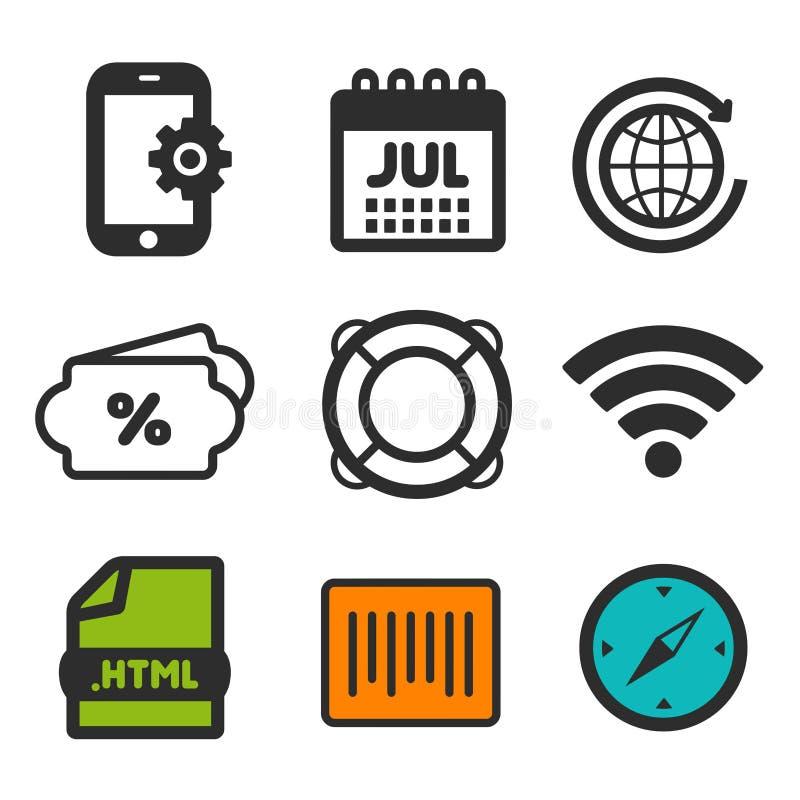 Ícone de Lifebuoy Símbolo do compasso Original do HTML e ícones do código de barras Sinal dos ajustes de Smartphone Ícone da alim ilustração do vetor