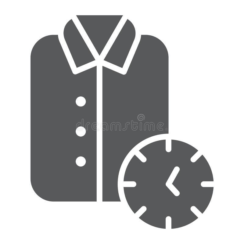 Ícone de limpeza do glyph, limpo expressos e serviço, sinal da camisa, gráficos de vetor, um teste padrão contínuo em um fundo br ilustração stock