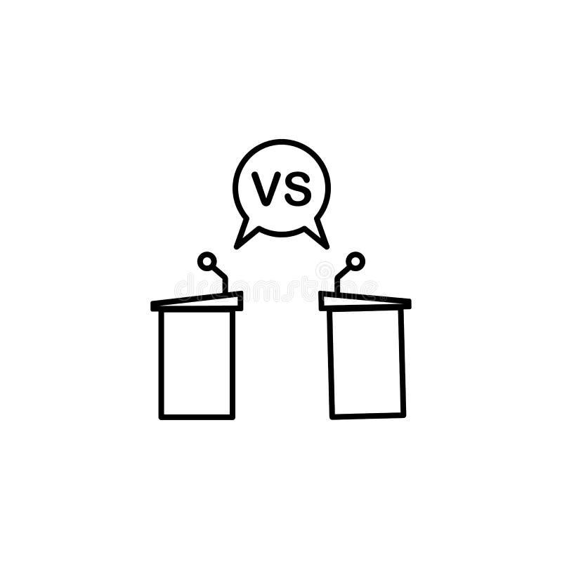 ícone de linha de desafio, conversa vs Elementos de ícones de ilustração de protestos Sinais, símbolos podem ser usados para web, ilustração stock