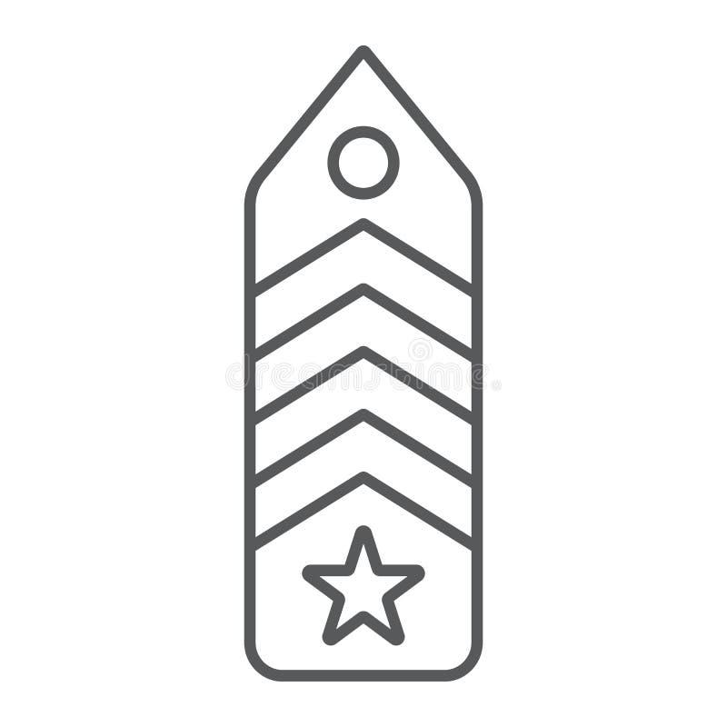 Ícone de linha fina do diafrão militar, uniforme e insígnia, sinal de emblema do exército, gráficos vetoriais, um padrão linear e ilustração do vetor