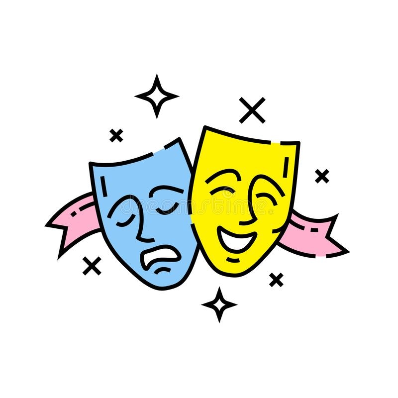 Ícone de linha de máscaras de drama ilustração do vetor