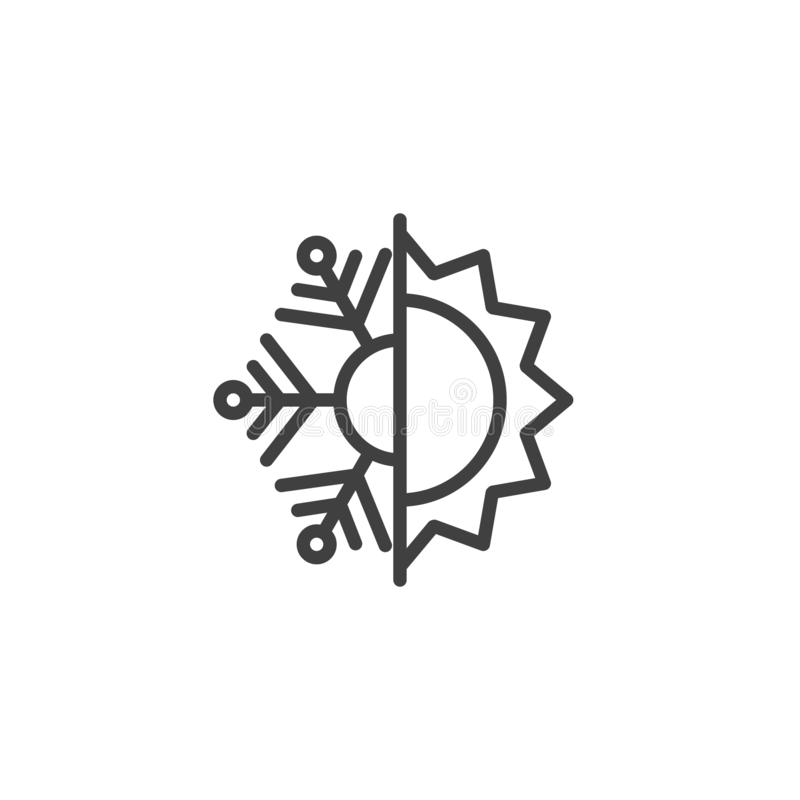 Ícone de linha resistente ao calor e ao frio ilustração stock