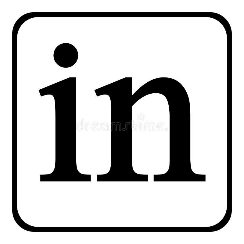 Ícone de Linkedin no branco ilustração stock