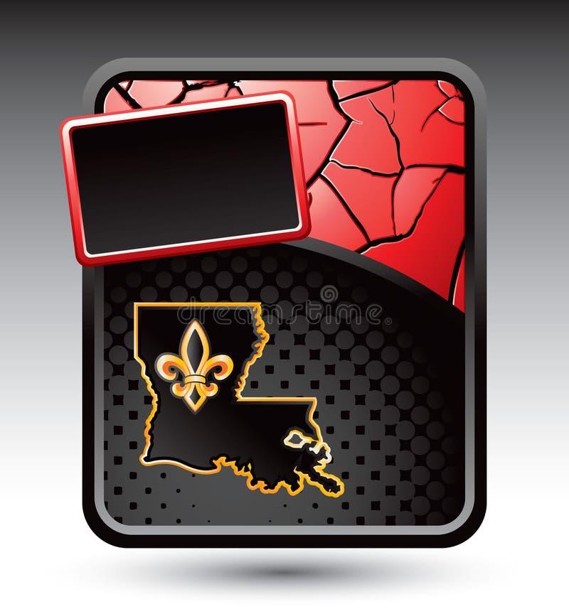 Ícone de Louisiana na bandeira rachada vermelha ilustração stock