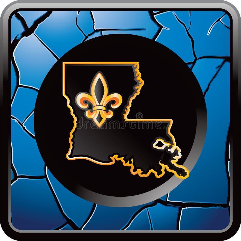 Ícone de Louisiana na tecla rachada azul do Web ilustração stock