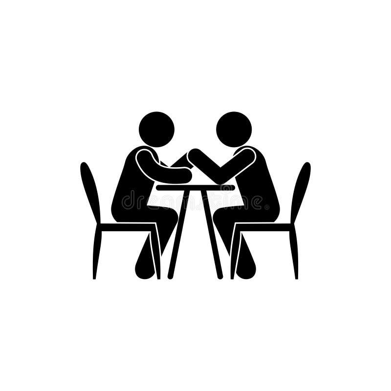 ícone de luta de braços, figura pictograma, silhuetas humanas isoladas sentadas ilustração stock