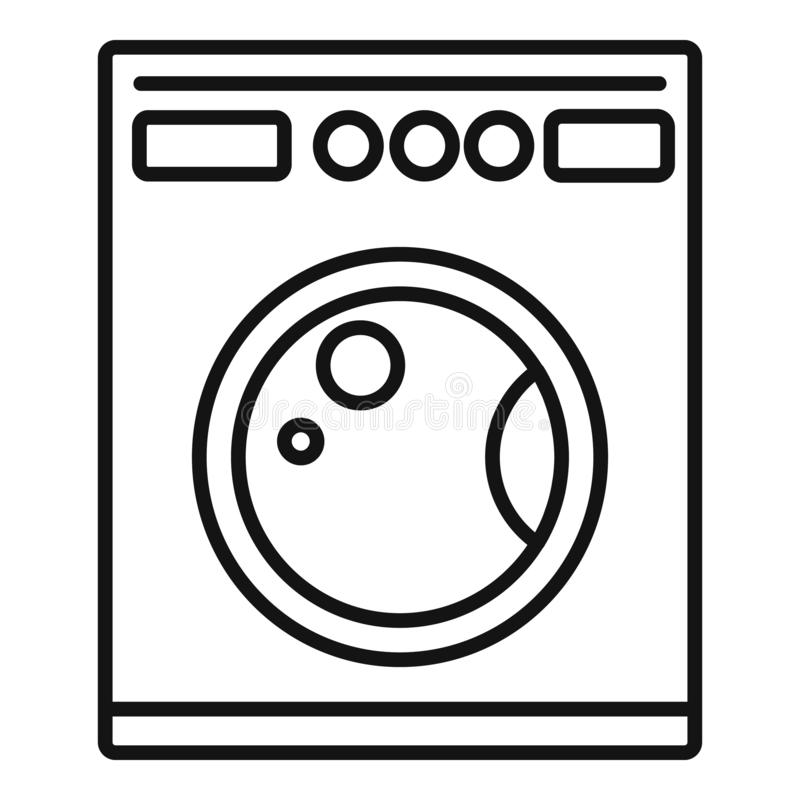 Ícone de máquina de lavar, estilo de estrutura de tópicos ilustração do vetor